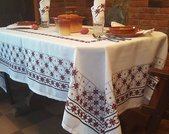 Set tablecloth and napkins Rectangle table cloth Anniversary gift  Flowers tablecloth Cross-stich tablecloth Burgundy Mother-in-law gift