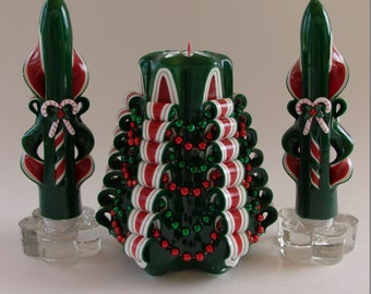 Carved Christmas Tree Candle Set--Green and Red