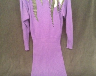 80s Purple Gem Sweater Dress
