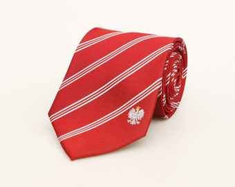 Poland Tie - Inspired by the Polish Flag with Personalized Tag. Polska. Warsaw. Krakow. LDS Missionary. Husband Gift, Missionary Gift.