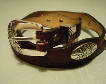 Vintage 1980s Dark Wine Burgundy Western Belt With Oblong Concho Accents