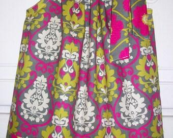 Pillowcase Dress Summer Dresses Floral Dress with Damask Grey and Hot Pink Girls Dresses Modern Dress Toddler dress Baby dress Kids Clothes