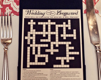 Personalized wedding crossword puzzle use as reception game personalized wedding crossword puzzle use as reception game save the date rehearsal dinner solutioingenieria Image collections