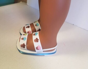 "Cupcake sandals for American Girl Doll! Sandals fit 18"" doll"