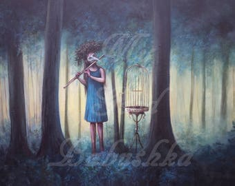 Conjuring Songbirds, Large Original Painting, Magic, Forest, Mask, Flute, Bird Cage, Fairy Tale, Folk Tale, Woman, Nest, Surrealism