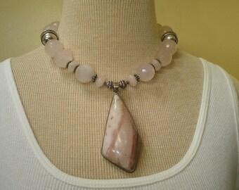 Vintage Massive Sterling Silver Rose Quartz Rhodochrosite Necklace 18 Inches