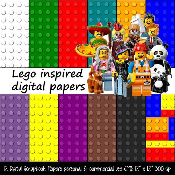 LEGO Movie Inspired Red Black Blue Digital Paper Pack, Background ...