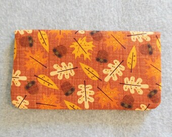 Fabric Checkbook Cover - Fall Leaves and Acorns