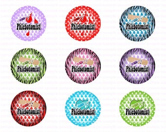 Phlebotomist 11 - Button Size Images 1.837 Inch (1.5 inch Button) Digital Collage Sheet for Badges n Buttons