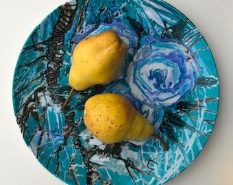 "Artist signet porcelain plate ""Turquoise Roses""  by Iryna Veshtak-Ostromenska, hand-painted unique piece"