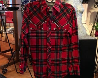 Vintage Western Wool Red and Green Plaid Shirt Pearl Snaps