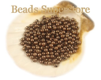2 mm Antique Copper-Plated Brass Seamless Round Bead - Nickel Free and Lead Free - 100 pcs
