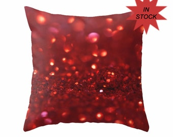 Abstract Pillow Case, Holiday Cushion Cover, Red Art Studio Sofa Accent, Teenage Girl's Bedroom Large Throw Cushion Cover, Macro Bokeh