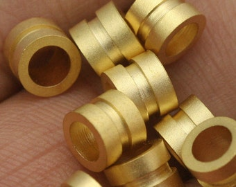 round tube finding 10 pcs  6 x 4.8 mm ( 4 mm hole) gold plated brass charm bab4 1311