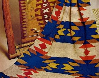 Navajo Blanket Afghan Vintage Knitting Pattern Instant Download