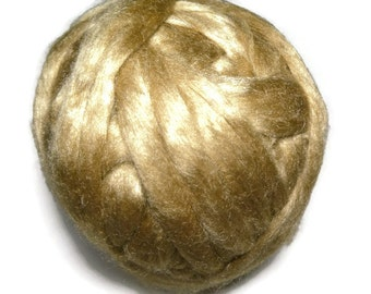 Royal Natural Golden Muga Silk Roving,1 oz Gold