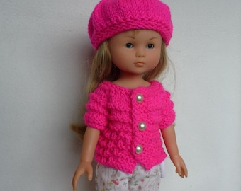 "Hand Knitted Short-Sleeve Sweater & Beret (Hot Pink) for 13"" Doll  (Les Cheries, Little Darling, Similar) - Ready to Ship"