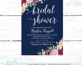 Bridal shower invitations printed etsy rose garden navy bridal shower invitation printed or digital file bridal shower invite flowers floral 2r filmwisefo
