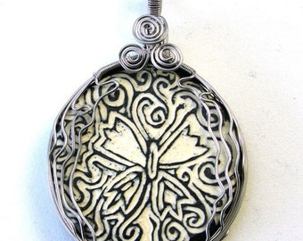 Flutter by Butterfly - Wire Wrapped sgraffito Ceramic Art Pendant