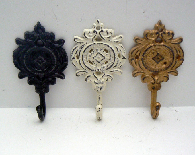 Medallion Shabby Chic Cast Iron Trio Floral Hooks Black Gold Cream Home Decor