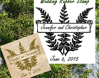 Custom Save the Date Wedding Rubber Stamp / Fern Rubber Stamp / Woodland Wedding / Rustic Wedding - Handmade by Blossom Stamps