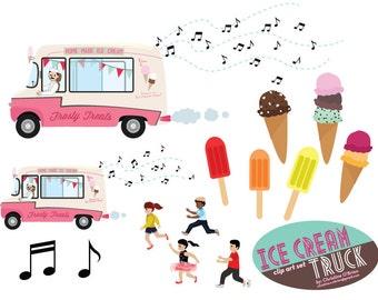 Ice Cream Truck Clip Art Set