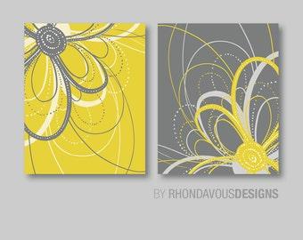 Flower Art Prints, Flower Bathroom Art, Flower Bedroom Decor, Dahlia Flower Bath, Flower Wall Art, Flower Nursery Art,  Yellow Gray (NS-426)