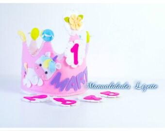 Corona Unicorn-Birthday crown-personalized Crown-party unicorn-Children's party-child-girl-gift-crown birthday felt