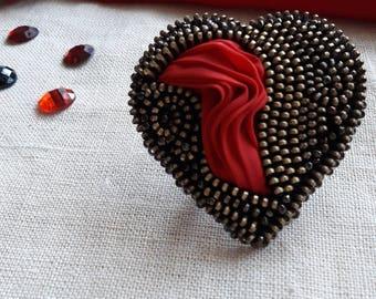 Red Heart brooch Zipper heart Valentine brooch Zipper jewelry Heart brooch Unique brooch Brooch with silk Original brooch