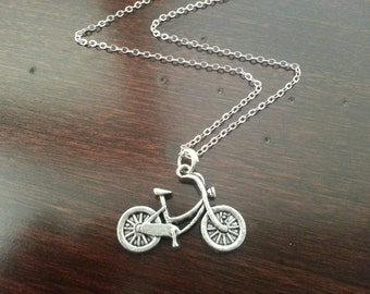 Bicycle Necklace in Antique Silver