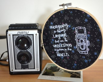 Photography is the Only Language That Can Be Understood Anywhere in the World Quote Embroidery Hoop Art - Photography, Vintage Camera