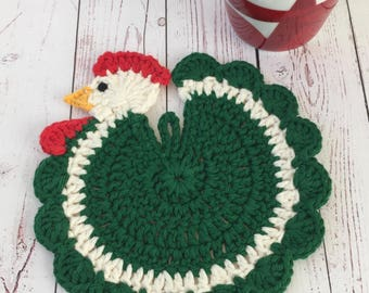 Chicken trivet,green,white,Christmas,Italy,table decor,hot pad,hostess gift, gift for her,gifts under 20