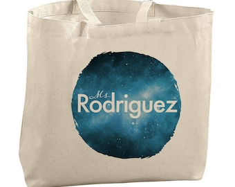 Personalized Gift Personalized Teacher Gift Galaxy Tote Bag Canvas Tote Bag for School Tote Bag Teacher Gifts for Teachers Bag Personalized