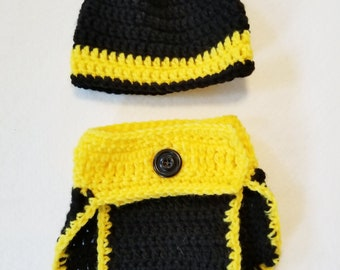 Crochet Newborn Baby Hufflepuff, Bruins, and Pittsburgh Diaper Cover and Hat Photo Prop