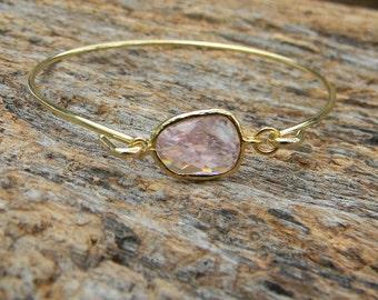 Gold Bangle Bracelet / Blush Pink Bracelet / Bridesmaid Gift / Bridesmaid Jewelry / Bridesmaid Bracelet / Gift For Her / Blush Pink Bangle