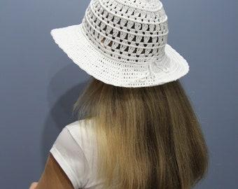 Crochet beach hat women wide brim Beach hat bride Sun hat white Summer hat womens Cotton hat Women's sun hat Floppy sun hat