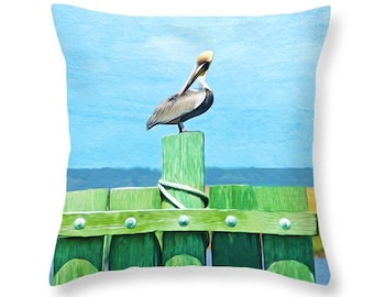 Nature Throw Pillow, Brown Pelican, Accent Pillow, Pelican Pillow, Pillow Cushion, Home Decor, Couch Pillow, Wildlife Decor, Blue and Green