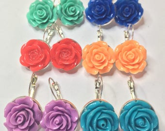 Silver Tea Rose Earrings in Custom Colors - Pinup, Retro, Classic, Party, Dangle, Great Gift!