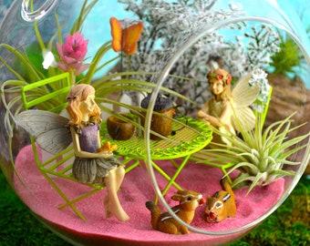"""Fairy Garden Tea Party Terrarium Kit ~ 7"""" Air Plant Terrarium Kit ~ 2 Fairies ~ Table and Acorn Tea Set ~ Butterfly Choice ~ Mother's Day"""