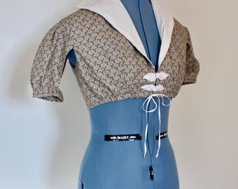 "Regency High Collar Summer Spencer, Beige with Acorn Print, 35"" & 42"" Bust"