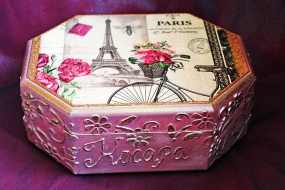Personalized jewelry box Paris box girls jewellery box
