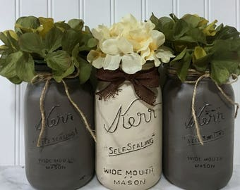 Painted quart mason jars with hydrangeas , rustic painted jars, rustic home decor with hydrangeas