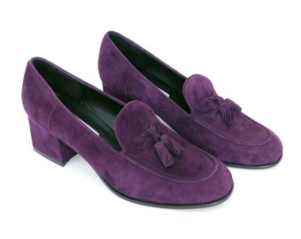 Sz 9M 90s Purple High Heel Suede Loafers - Vintage Women's Liz Clairborne Block Heel Tassel Pumps - Chunky Heel 1990s Shoes