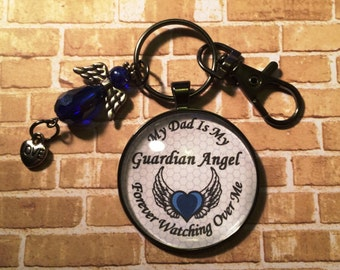 My Guardian Angel Keychain - My Dad is my Guardian Angel Forever Watching Over Me - Memorial Gift - Memorial Keychain - Memorial Ideas