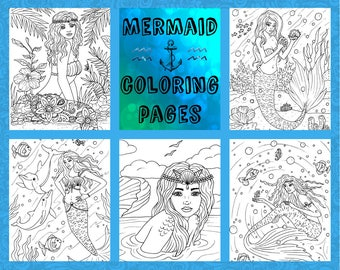 Adult coloring-coloring pages-5 page pdf download-Mermaids... by Nashana webb