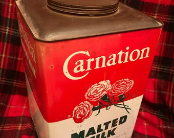Vintage Carnation Malted Milk Container
