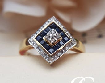 Vintage Antique Art Deco Inspired 9ct Yellow Gold, Diamond & Sapphire Ring
