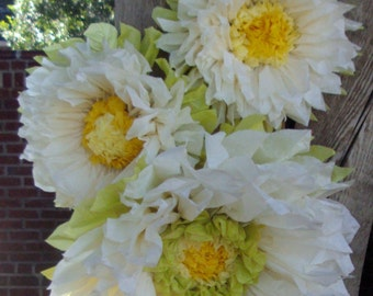 Set of 3 Giant Paper Flowers (Vanilla) - Perfect Decorations for Wedding,Birthday Party&Baby Shower