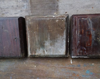 3 Antique Wood rosette square boards Architectural salvage Supplies corbel Repurpose Restoration supplies
