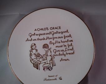 "Vintage Plate ""A Child's Grace"""